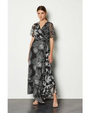 Karen Millen Printed Wrap Midi Dress -, Blackwhite