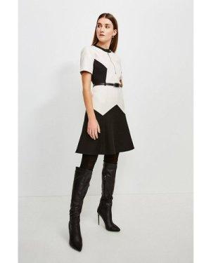 Karen Millen Clean Compact Colourblock Flippy Belted Dress -, Mono