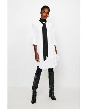 Karen Millen Tie Neck Volume Sleeve Dress -, Ivory