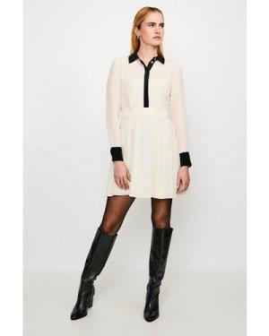 Karen Millen Colour Block Silk Satin Long Sleeve Dress -, Ivory
