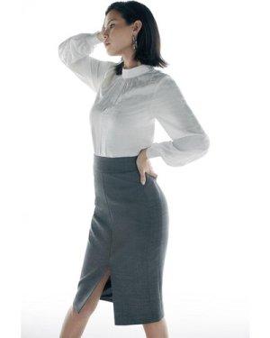 Karen Millen Black Label Italian Stretch Wool Skirt -, Grey