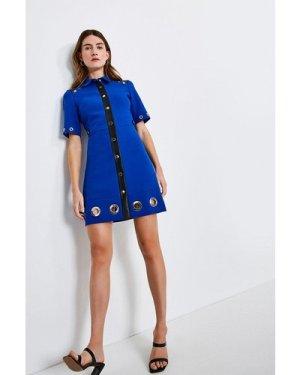 Karen Millen Compact Stretch Eyelet Detail Collared Dress -, Blue