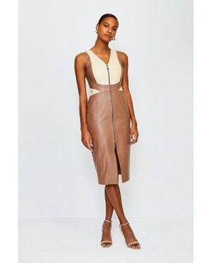 Karen Millen Leather Colour Block Dress -, Tan