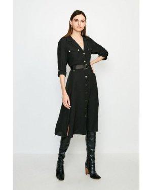 Karen Millen Luxe Utility Shirt Dress -, Black