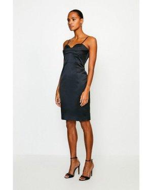 Karen Millen Italian Satin Multi Stitch Pencil Dress -, Black