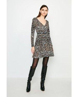 Karen Millen Leopard Long Sleeve Jersey Wrap Dress -, Natural