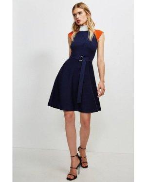 Karen Millen High Neck Knitted Skater Dress -, Navy