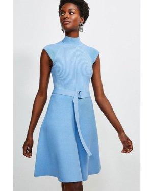 Karen Millen High Neck Knitted Skater Dress -, Mid Blue