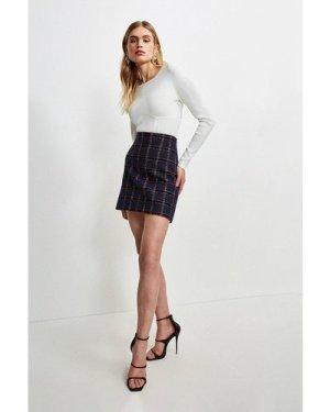 Karen Millen Italian Tweed A Line Skirt -, Navy