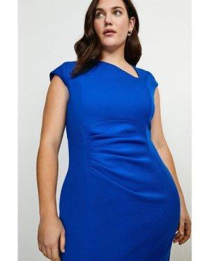 Karen Millen Curve Asymmetric Tuck Detail Dress -, Blue