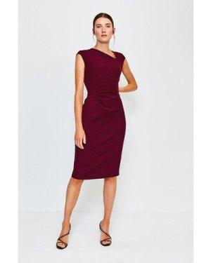 Karen Millen Asymmetric Tuck Detail Dress -, Red