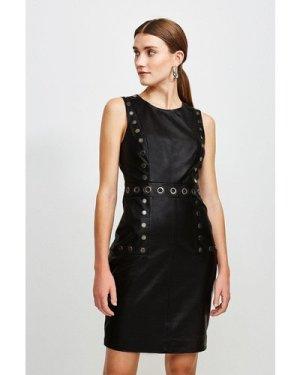 Karen Millen Eyelet Trim Leather Shift Dress -, Black
