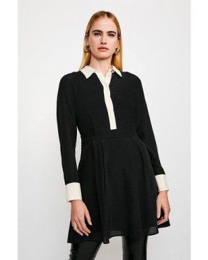 Karen Millen Colour Block Silk Satin Long Sleeve Dress -, Black