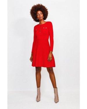 Karen Millen Gold Button A Line Knitted Dress -, Red
