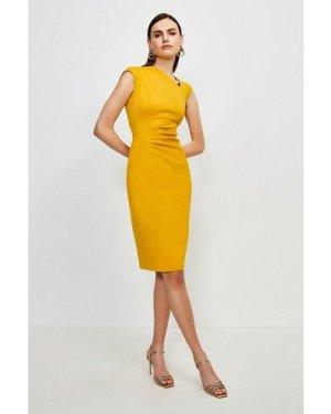 Karen Millen Asymmetric Tuck Detail Dress -, Orange