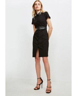 Karen Millen Pinstripe Collared Dress -, Black