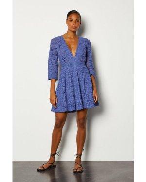 Karen Millen Cutwork Embroidered Dress -, Blue