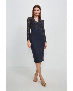 Karen Millen Italian Lace Long Sleeve Forever Dress -, Navy