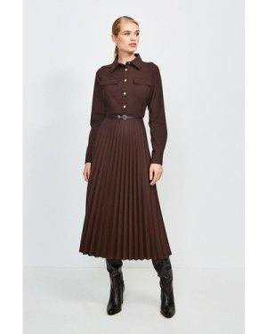 Karen Millen Polished Stretch Wool Blend Shirt Dress -, Brown
