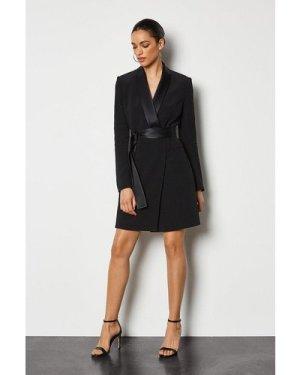 Karen Millen Tuxedo Wrap Dress -, Black