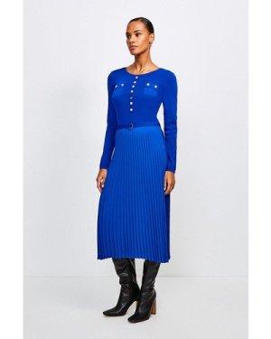 Karen Millen Gold Button Pleated Skirt Knit Dress -, Blue