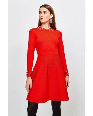 Karen Millen Studded Collar Knit Dress -, Red