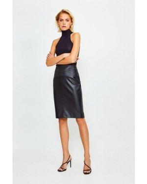 Karen Millen Faux Leather Pencil Skirt -, Black