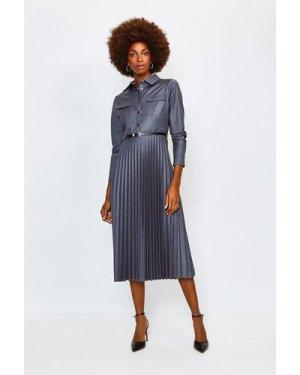 Karen Millen Polished Stretch Wool Blend Shirt Dress -, Pale Grey