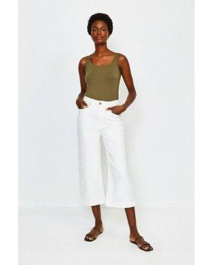Karen Millen Denim Wide Leg Cropped Jean -, White