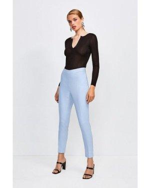 Karen Millen Essential Cotton Sateen Capri Trousers -, Pale Blue