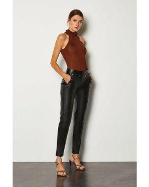 Karen Millen Leather Button Detail Trouser -, Black