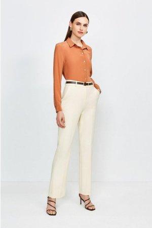 Karen Millen City Stretch Twill Belted Capri Trousers -, Cream
