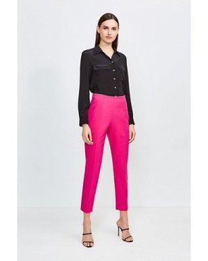 Karen Millen High Waisted Tapered Trousers -, Navy
