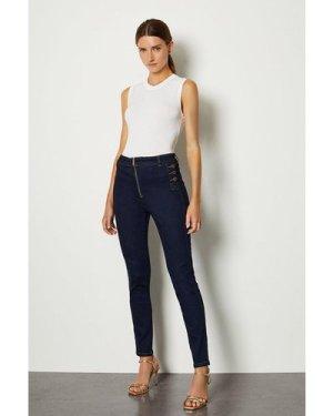 Karen Millen Skinny Button Detail Jean -, Indigo
