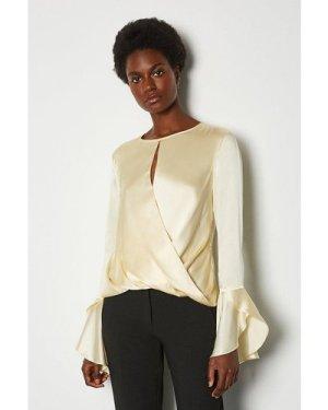 Karen Millen Silk Satin Draped Blouse -, Ivory
