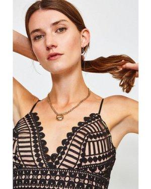 Karen Millen Strappy Geometric Lace Body -, Black