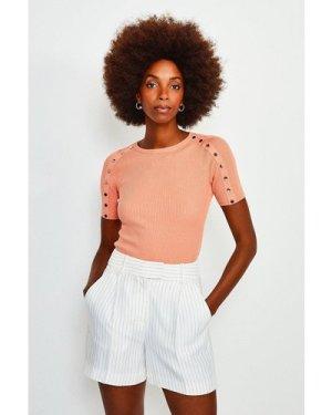 Karen Millen Rivet Sleeve Knitted Top -, Orange