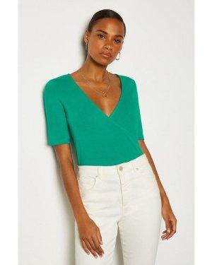 Karen Millen Short Sleeve Viscose Jersey Wrap Top -, Green