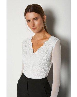 Karen Millen Long Sleeve Lace Bodysuit -, Ivory