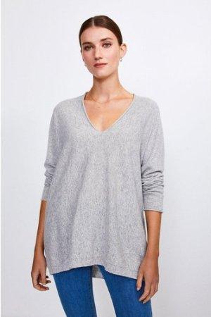 Karen Millen Cashmere Blend V-Neck Jumper -, Light Grey