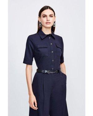 Karen Millen Clean Utility Shirt -, Navy