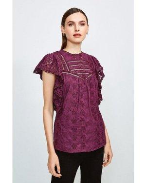 Karen Millen Cotton Broderie Sleeveless Shirt -, Red