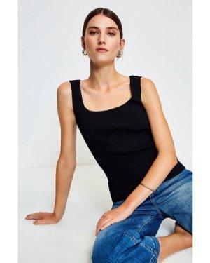 Karen Millen Knitted Rib Square Neck Vest Top -, Black