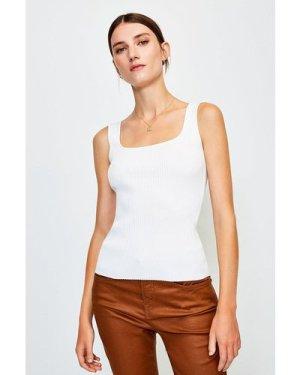 Karen Millen Knitted Rib Square Neck Vest Top -, Ivory