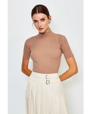 Karen Millen Knitted Rib Funnel Neck Top -, Brown