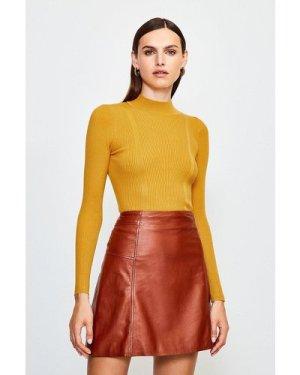 Karen Millen Rib Knitted High Neck Top -, Yellow