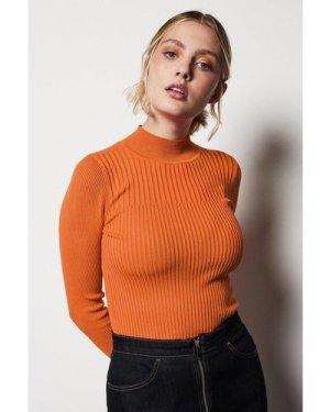Karen Millen Skinny Rib Knit Jumper -, Orange
