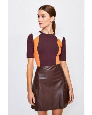 Karen Millen Colour Block Knitted Top -, Fig