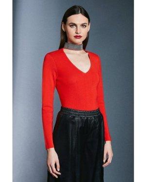 Karen Millen Diamante Neck Knit Jumper -, Red