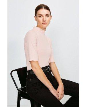 Karen Millen Short Sleeve Funnel Neck Viscose Jersey Top -, Pink